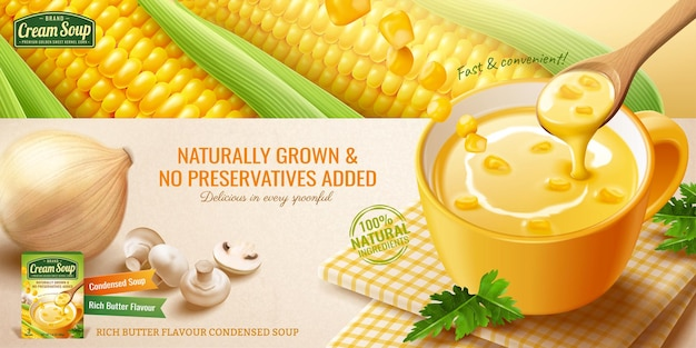 3dイラストで新鮮なトウモロコシの穂軸とインスタントコーンクリームスープ広告