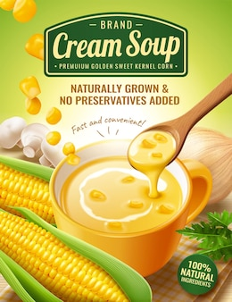Instant corn cream soup ads with fresh corncob and mushroom in 3d illustration