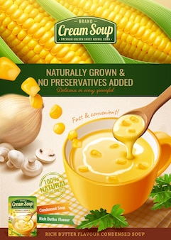 Instant corn cream soup package design with fresh corncob and ingredients in 3d illustration