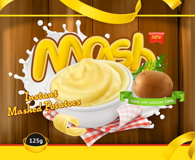 Instant mashed potatoes. design packaging, vector template