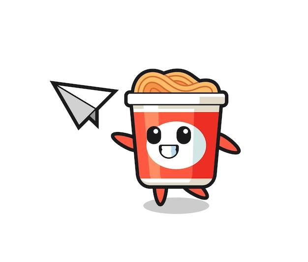 Мультипликационный персонаж с лапшой быстрого приготовления, бросающий бумажный самолетик, милый стильный дизайн для футболки, стикер, элемент логотипа