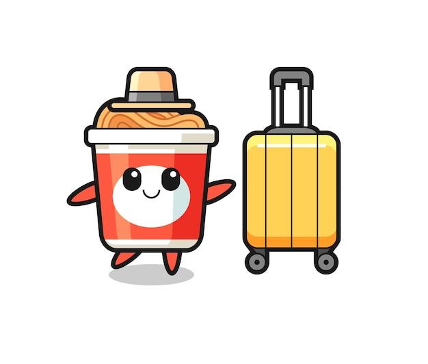 休暇中の荷物とインスタントラーメンの漫画イラスト、tシャツ、ステッカー、ロゴ要素のかわいいスタイルのデザイン