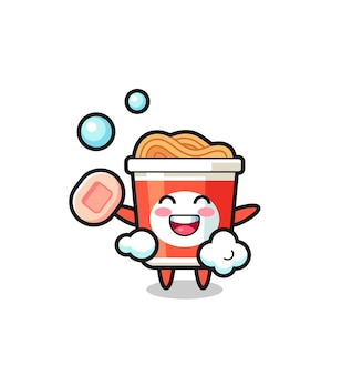 Instant noodle character is bathing while holding soap , cute style design for t shirt, sticker, logo element