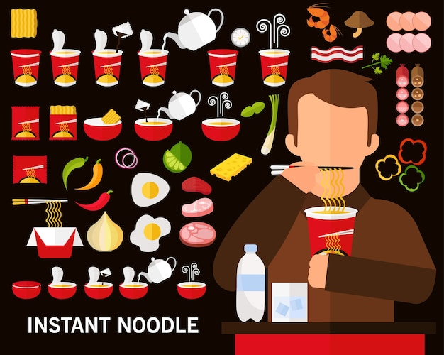 Instant noodle concept background