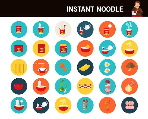 Instant noodle concept flat icons.