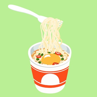 Instant noodle cup add egg