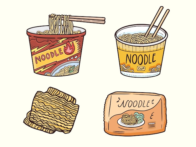 Чашка лапши быстрого приготовления с иллюстрацией палочки для еды