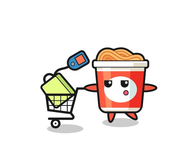 Instant noodle illustration cartoon with a shopping cart , cute style design for t shirt, sticker, logo element