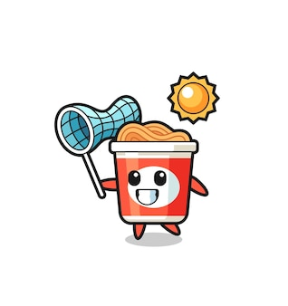 Instant noodle mascot illustration is catching butterfly , cute style design for t shirt, sticker, logo element