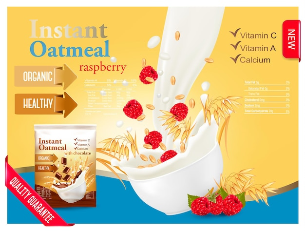 Instant oatmeal with raspberry advert concept. milk flowing into a bowl with grain. vector.