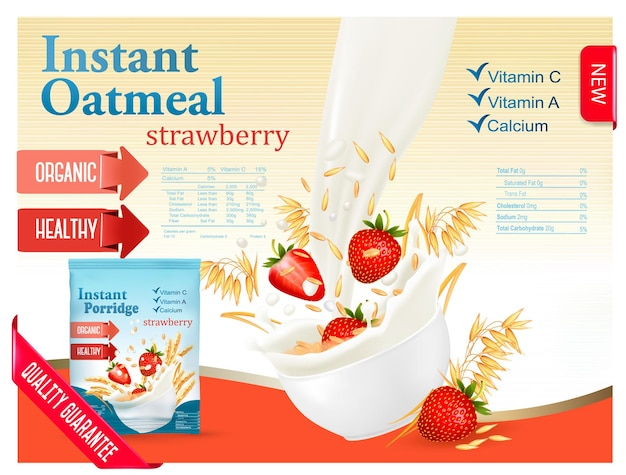 Овсянка быстрого приготовления с концепцией рекламы клубники. молоко течет в миску с зерном и клубникой. вектор.