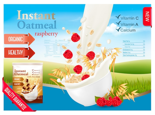 Instant oatmeal with strawberry advert concept. milk flowing into a bowl with grain and berries. .