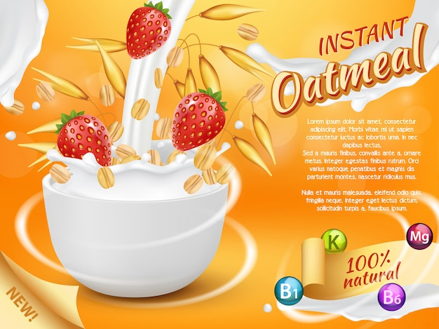 Instant oatmeal with strawberry and milk splash realistic template