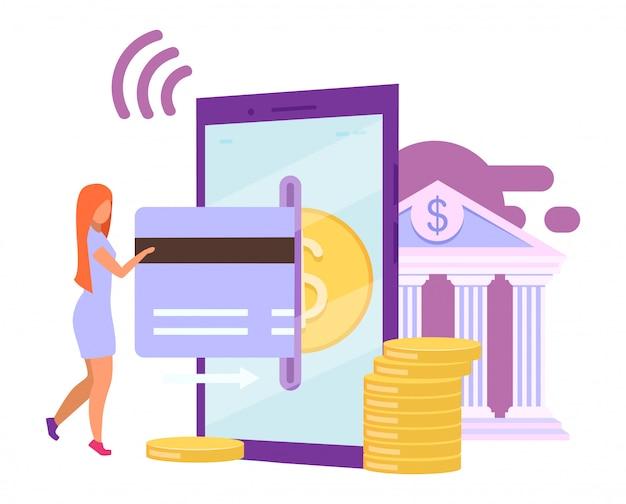 即時支払いの平らなイラスト。モバイルバンキングアプリ。