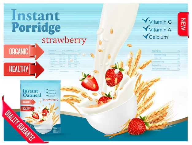 Мгновенная концепция рекламы каши. молоко течет в миску с зерном и клубникой. вектор.