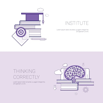 Institute and thinking correctly template web banner with copy space