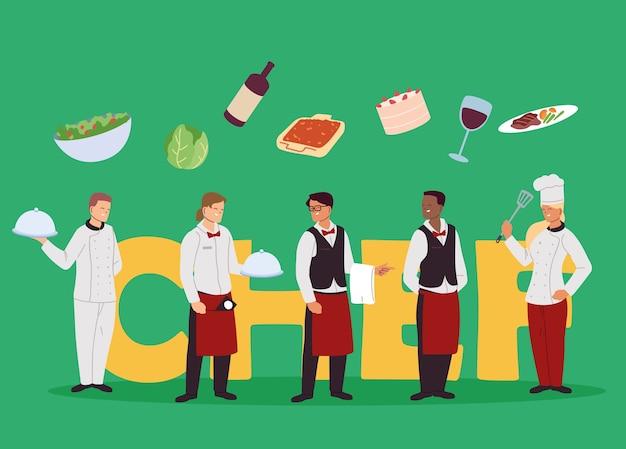 レストランイラストデザインのシェフとウェイターの機関