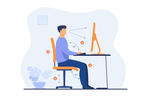Instruction for correct pose during office work flat illustration. cartoon worker sitting at desk with right posture for healthy back and looking at computer