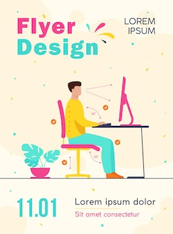 Instruction for correct pose during office work flyer template