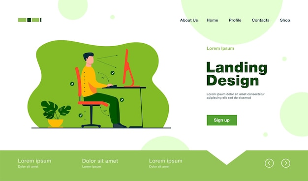 Instruction for correct pose during office work landing page in flat style