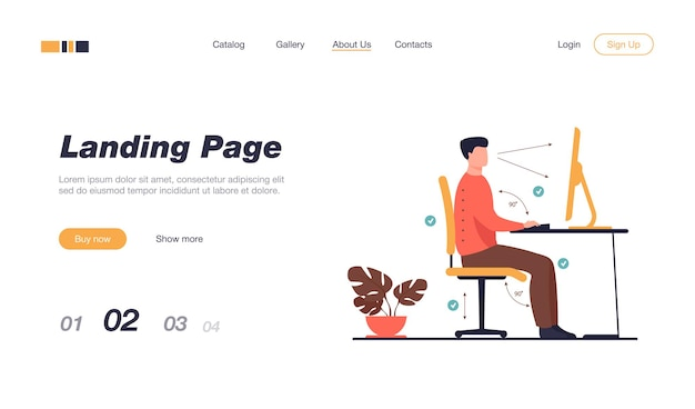 Instruction for correct pose during office work landing page template