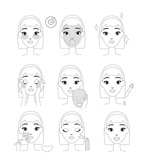 Instruction how to use cosmetic mask. young woman doing beauty procedures, line style