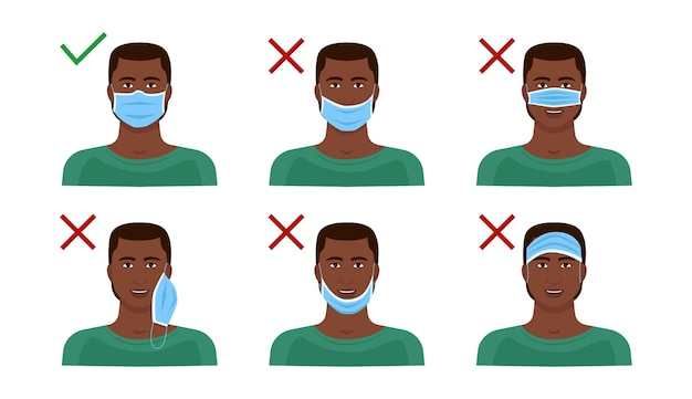 Instructions on how to properly wear a mask.