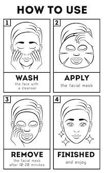 Instructions how to use facial sheet mask