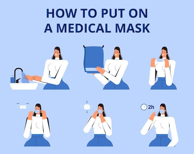 Инструкция по ношению медицинской маски. молодая женщина защищает себя от заражения вирусом. порядок надевания маски. плоский