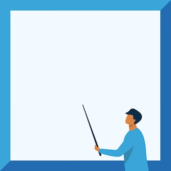 Instructor drawing holding stick pointing board showing new lessons teacher design holds and