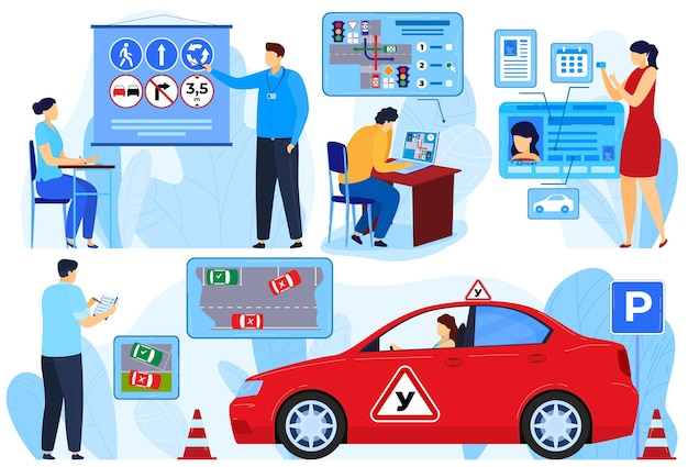 Instructor exam for car driver, people learners rules vector illustration set. woman man student character learning to drive at school
