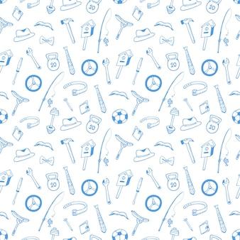 Инструменты. спортивный инвентарь бесшовные модели. концепция для мужа, день отца. дизайн оберточной бумаги, обертки.