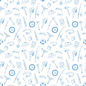 Instruments. sports equipment seamless pattern. concept for the husband, father day. design of wrapping paper, wrappers.