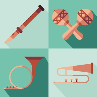 Instruments symbol collection design, music sound melody and song theme  illustration
