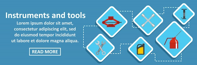 Instruments and tools auto banner horizontal concept