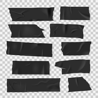 Insulating adhesive sticky black tape in realistic style set
