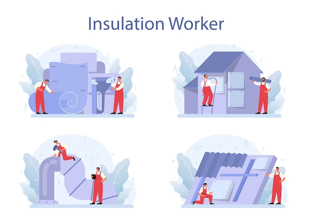 Insulation concept set. thermal or acoustic insulation.