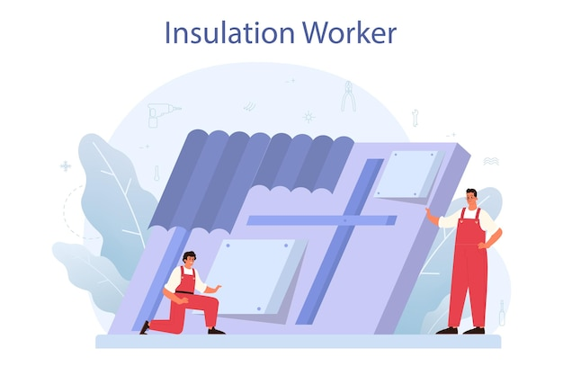 Insulation concept. thermal or acoustic insulation. construction industry, worker putting insulation materials. construction service, house renovation.