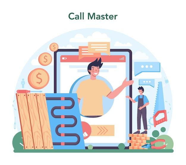 Онлайн-сервис или платформа по изоляции. онлайн звонок мастеру. плоские векторные иллюстрации
