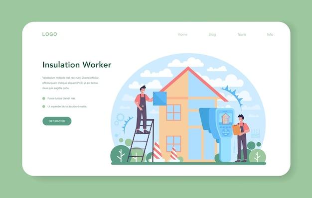 Изоляция веб-баннера или целевой страницы. тепловая или звукоизоляция. рабочий кладет изоляционные материалы. строительные услуги, ремонт домов. изолированные плоские векторные иллюстрации