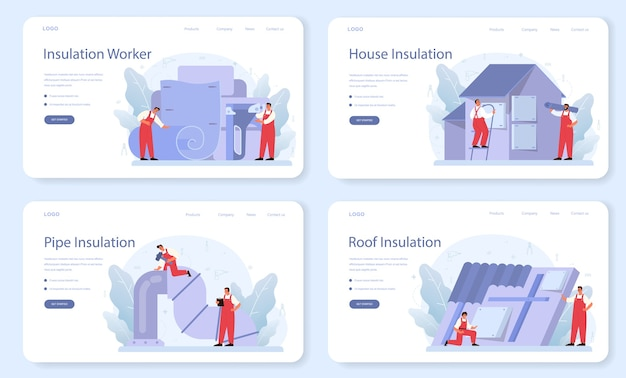 Insulation web template or landing page set.
