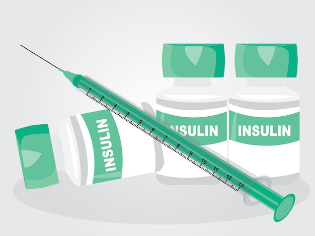 An insulin and syringe on white background