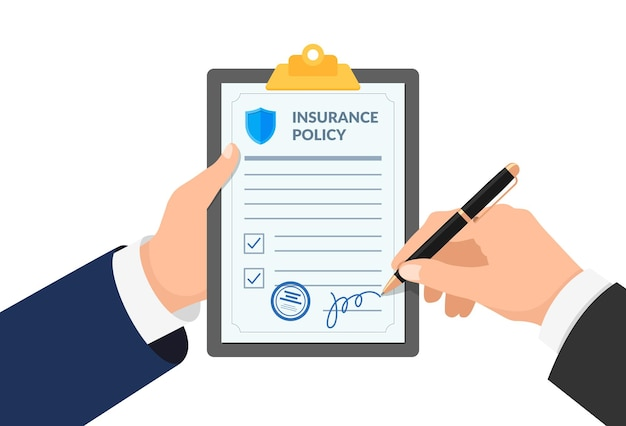 Insurance agent hand holding clipboard with policy form and businessman signs agreement protection