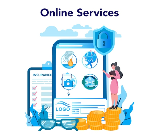 保険代理店のオンラインサービスまたはプラットフォーム。セキュリティと財産と生命の損害からの保護のアイデア。