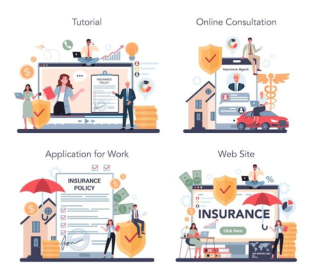 保険代理店のオンラインサービスまたはプラットフォームセット