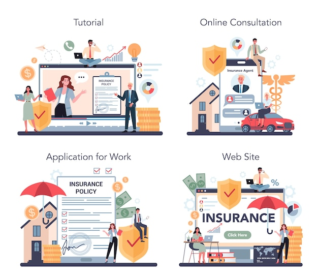 Insurance agent online service or platform set
