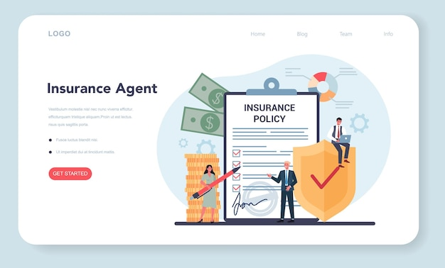 Insurance agent web banner or landing page