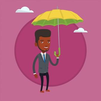 Insurance agent with umbrella vector illustration.