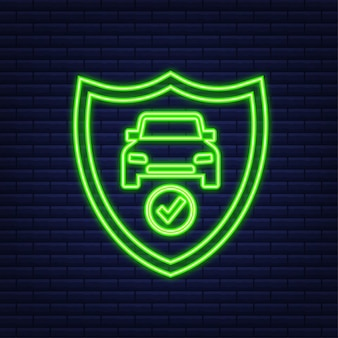 Insurance contract document. shield icon. neon icon. protection. vector stock illustration.
