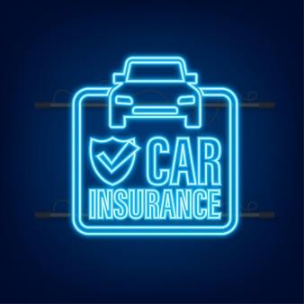 Документ договора страхования. значок щита. неоновая иконка. защита. векторная иллюстрация штока.